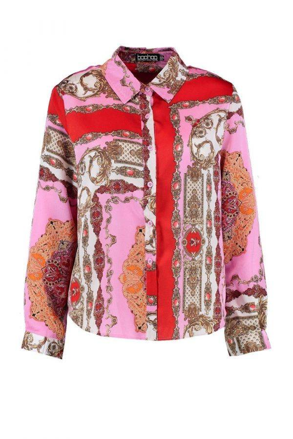 Pink printed satin shirt